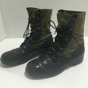 Military Combat Jump Boots Black Leather Canvas 8W